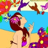 Раскраска: Девочка и птицы (Kid's coloring: Girl and birds)