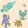 Раскраска: Космические существа (Three  alien in space coloring)