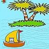Раскраска: Корабль в океане (The boatman in the ocean coloring)