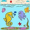 Раскраска: Море и рыбки (Sea and fishes coloring)