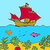 Раскраска: Корабль в море (Ship on the  sea coloring)