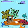 Раскраска: Тропический остров (Tropical island coloring)