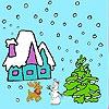 Раскраска: Снежное рождество (Snowy Christmas coloring)