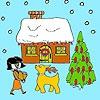 Раскраска: Канун Нового года (New Year's eve coloring)