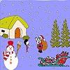 Раскраска: Санта и дети (Santa and child coloring)