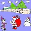 Раскраска: Санта и снег (Snow and santa coloring)