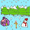 Раскраска: Снеговик (Cute girl and snowman coloring)