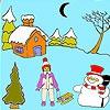 Раскраска: Снеговик под луной (Moon and the snowman coloring)