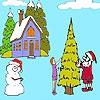 Раскраска: Зимний день (A Winter day coloring)