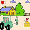 Раскраска: Ферма (The farmer and the tractor coloring)