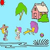 Раскраска: Девочки на пляже (Girls at the beach coloring)