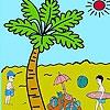 Раскраска: Пальма и пляж (Palm  beach coloring)