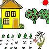 Раскраска: Девочка на ферме (Farmer girl and field coloring)