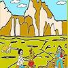 Раскраска: Пикник в горах (Picnic at the mountain coloring)