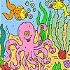 Раскраска: Большой осьминог (Big octopus in the sea coloring)