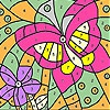Раскраска: Бабочка (Pink butterfly and flower coloring)