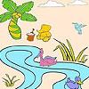 Раскраска: Уточки в речке (Ducks in the river coloring)