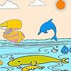 Раскраска: Корабль и дельфин (Ship and dolphins coloring)