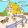Раскраска: Большая ферма (Big farm and horses coloring)