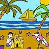 Раскраска: Пальма на пляже (Palm beach coloring)