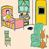 Раскраска: Кот в спальне (Cat in the bedroom coloring)