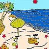 Раскраска: Песчаные замки (Sandcastles on the beach coloring)