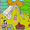 Раскраска: Пикник (Lena at the camp coloring)