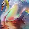 Пятнашки: Радужный лебедь (Colorful swan slide puzzle)