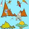 Раскраска: Космический ковбой и метеор (Space cowboys and meteor coloring)