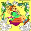 Раскраска: Девочка на качелях (Kid's coloring: Happy Girl)