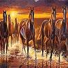 Пятнашки: Лошади на реке (Horses on the river slide puzzle)