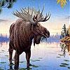 Пятнашки: Лось на озере (Deer in the lake slide puzzle)