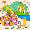 Раскраска: Девушка на Гаваях (Hawaiian girl  and birds coloring)
