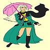 Раскраска: Под зонтом (Umbrella and girl coloring)