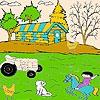 Раскраска: Кот на ферме (Cat and farmer coloring)