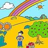 Раскраска: Джени в яблоневом саду (Jenny at the apple garden coloring)