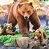 Пятнашки: Мама и детишки (Grizzly bear and cub bears slide puzzle)