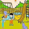 Раскраска: Друзья в парке (Two friends in the park coloring)