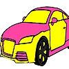 Раскраска: Автомобиль (Grand pink  car coloring)