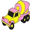 Раскраска: Бетономешалка (Pink concrete truck coloring)