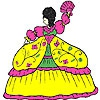 Раскраска: Королева (Fluffy dress girl coloring)