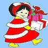 Раскраска: День рождения (Little girl birthday gift coloring)
