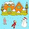 Раскраска: Снеговик (Winter night coloring)