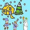 Раскраска: Зимний сад (Snow and children coloring)