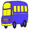 Раскраска: Автобус (Blue student bus coloring)