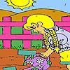 Раскраска: Девочка в саду (Vegetables garden coloring)