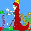 Раскраска: Русалка и рыбки (Mermaid and fishes coloring)