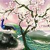 Пятнашки: Сакура и павлин (Sakura and peacock slide puzzle)