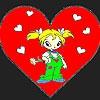 Раскраска: Девочка и сердечко (Heart and little girl coloring)