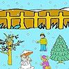 Раскраска: Снеговик и Ко (Snow man and winter night coloring)